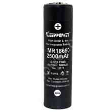 KEEPPOWER IMR18650 2500 mAh (button top)
